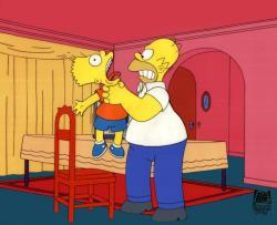 I tried to find a photo of the episode where Homer takes a switch and uses it to beat Bart's testicles, but this was the best I could come up with.